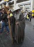 04-18-2015 banda desenhada de Turin, Itália, Torino, Gandalf do senhor dos anéis Cosplayer imagem de stock royalty free