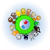 Banda desenhada do mundo de animais Fotos de Stock