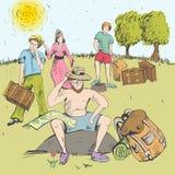 Banda desenhada Homem que senta-se em uma pedra e em um pensamento tourism Fotografia de Stock Royalty Free