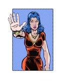 Banda desenhada ilustrada, fêmea do acosso sexual da parada no local de trabalho Imagens de Stock Royalty Free
