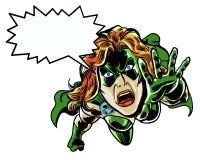 A banda desenhada ilustrada recicla o herói em um pânico sobre o ambiente Imagens de Stock