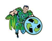 A banda desenhada ilustrada recicla o super-herói que verde o voo com recicla o protetor Fotos de Stock