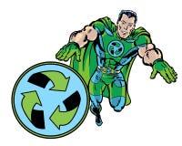 A banda desenhada ilustrada recicla o super-herói que verde o voo com recicla o símbolo Foto de Stock