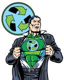 A banda desenhada ilustrada recicla o super-herói verde que remove seu revestimento Imagens de Stock