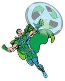 A banda desenhada ilustrada recicla o voo verde do super-herói com fundo branco Imagem de Stock