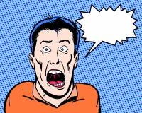 A banda desenhada ilustrou a gritaria louca do caráter com fundo azul Imagens de Stock Royalty Free