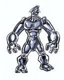 A banda desenhada ilustrou o caráter cósmico com uma espada na pose da ação Fotografia de Stock Royalty Free