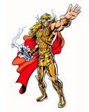 A banda desenhada ilustrou o caráter cósmico do deus do guerreiro na pose da energia Imagem de Stock