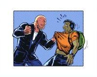 A banda desenhada ilustrou o caráter da intimidação que aterroriza um homem novo que veste uma trouxa Foto de Stock