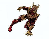 A banda desenhada ilustrou o caráter vingativo do herói do falcão na pose da ação Foto de Stock