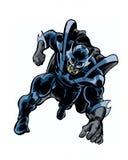 A banda desenhada ilustrou o herói do cavaleiro da sombra na pose da ação Imagens de Stock Royalty Free