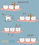 Banda desenhada sobre o fio dental Foto de Stock