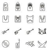 Banda di bacio o insieme dell'illustrazione di vettore di Icons Thin Line del musicista illustrazione vettoriale