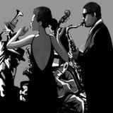 Banda di jazz con il cantante illustrazione di stock