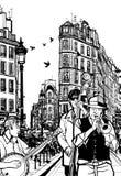 Banda di jazz in una via di Parigi royalty illustrazione gratis