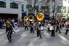 Banda en el desfile 2015 del día de fiesta de Harrisburg Imágenes de archivo libres de regalías