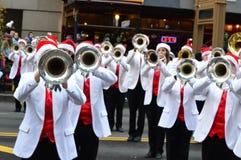 Banda escolar de Abilene en desfile de la acción de gracias fotos de archivo