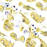 Banda filarmônica de cobre da aquarela Imagens de Stock Royalty Free