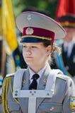 Banda filarmônica militar. Banda filarmônica, baterista fêmea Fotografia de Stock Royalty Free