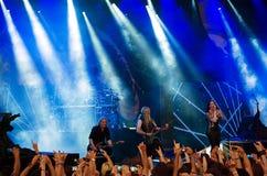 Banda finlandesa de Nightwish en etapa Fotos de archivo
