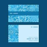 Banda floreale di orizzontale di struttura del campo blu di vettore Immagine Stock