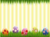 Banda gialla variopinta delle uova di Pasqua di festa di Pasqua Fotografia Stock Libera da Diritti