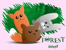 Banda linda del bosque de los animales Foto de archivo