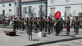 Banda militar en Tavira Portugal Imagen de archivo