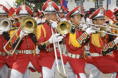 Banda Musiko. Young Filipino band players during the celebration of the independence of the Philippines in Kawit, Cavite Stock Photos