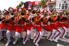 Banda Musiko. Young Filipino band players during the celebration of the independence of the Philippines in Kawit, Cavite Stock Photo