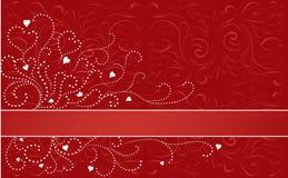 Banda orizzontale del biglietto di S. Valentino Immagini Stock