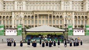 Banda Real De Gaitas Principe de Asturias de Oviedo Hiszpania zdjęcie royalty free