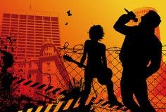 Banda rock urbana Fotografia Stock Libera da Diritti