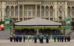 Banda rumana de la música militar de la gendarmería Imagen de archivo libre de regalías