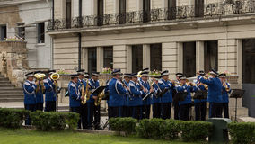 Banda rumena di musica militare della polizia Immagini Stock