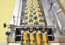 Banda transportadora con las galletas en una fábrica de la comida - equipm de la maquinaria imagen de archivo