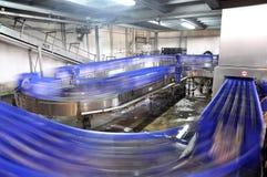 Banda transportadora de una cervecería - botellas de cerveza en la producción y el bott imagen de archivo