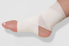 Bandage on the ankle Stock Photography
