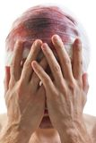 Bandage on blood wound head. Bandage on human brain concussion blood wound head Stock Photo