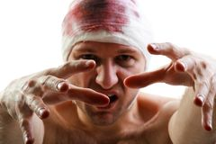 Bandage on blood wound head Royalty Free Stock Photos
