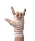 Bandage de médecine sur le symbole humain d'amour de main Photos libres de droits