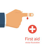 Bandage on finger vector. Bandage on finger. Broken, cut, damaged finger. Vector illustration flat design. Isolated on white. Concept healthcare, provision first Stock Photo