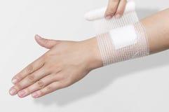 Bandage on the forearm royalty free stock photos