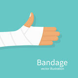 Bandage on hand human. Broken, cut, damaged arm. Gypsum plaster bandaged hand. Medical vector illustration flat design. Isolated on background. Injured part of Stock Photography