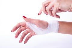 Bandage on a hand Stock Photo