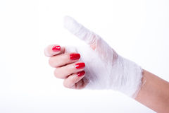 Bandage on a hand Stock Images