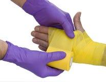 Bandage on left hand Royalty Free Stock Photo