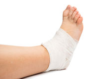 Bandage on the leg Royalty Free Stock Photography