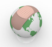 Bandage on Planet Earth. The planet Earth with a bandage on it Royalty Free Stock Photography