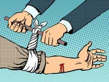 Bandage pour arrêter le saignement après avoir été blessé Photographie stock